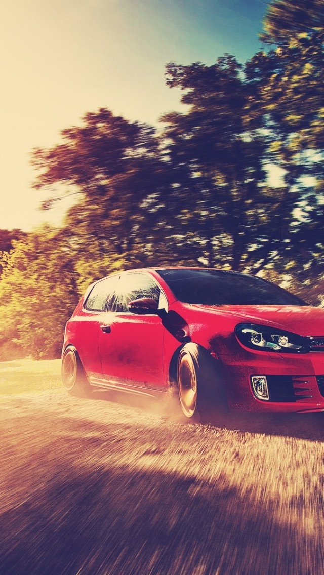 640x1136 Red Golf GTI Drift Iphone 5 Wallpaper