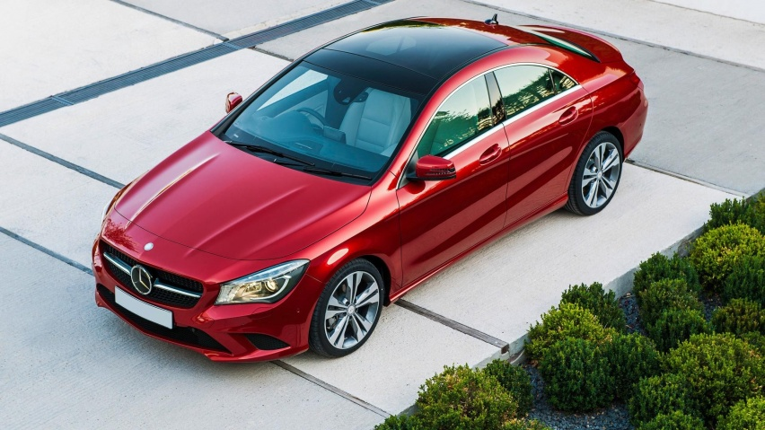 852x480 red mercedes benz cla top angle desktop pc and mac for Red mercedes benz cla