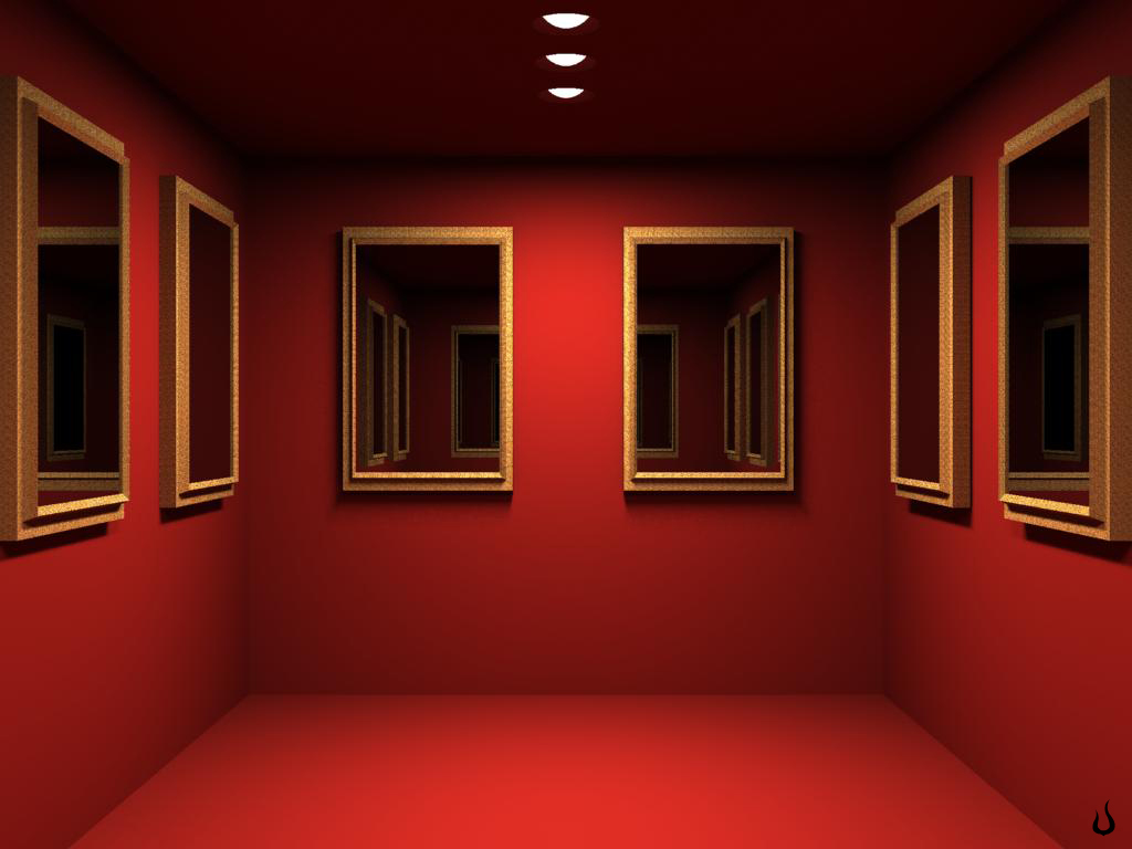 1024x768 red mirrored room desktop pc and mac wallpaper