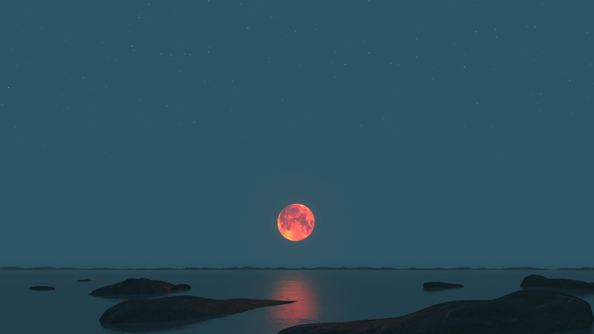 1920x1080 red moon ocean black rocks desktop pc and mac wallpaper