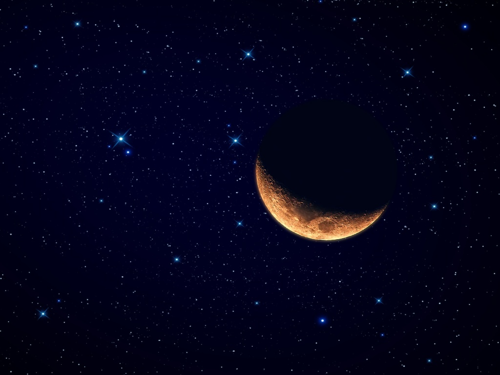 1024x768 Red Moon Starry Sky Desktop PC And Mac Wallpaper