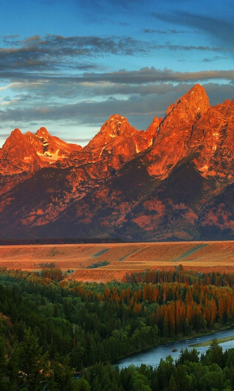480x800 Red Peaks River Forest Wyoming