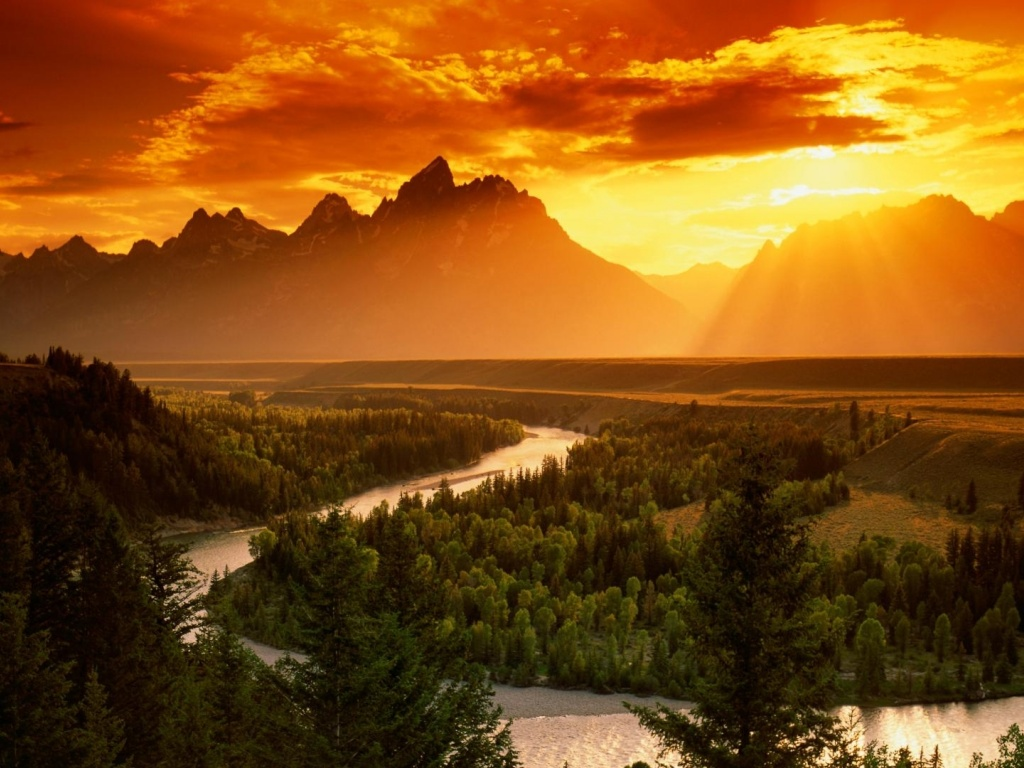 920x520 Red Sky Mountains Forest River