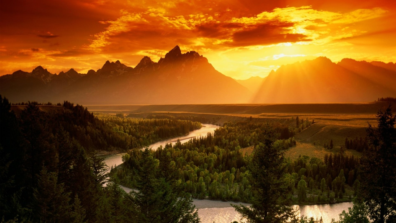 1280x720 Red Sky Mountains Forest River