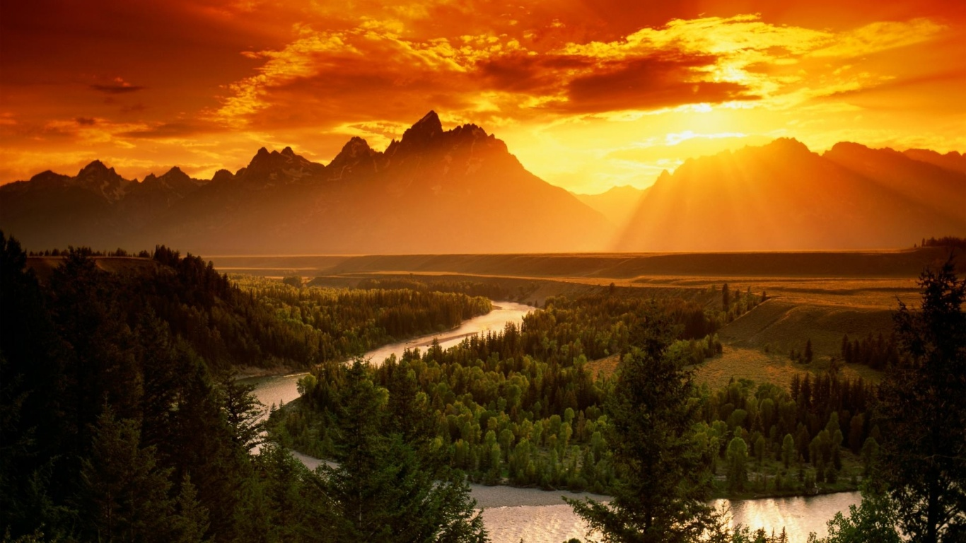 1366x768 Red Sky Mountains Forest River