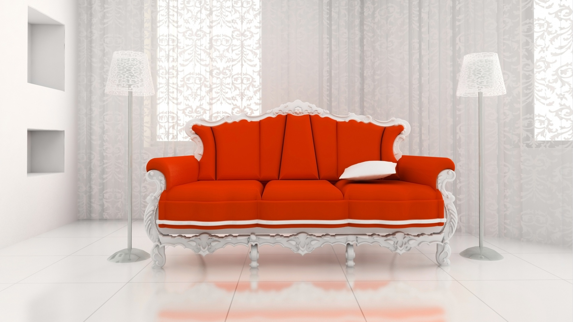 Red sofa on white desktop PC and Mac wallpaper