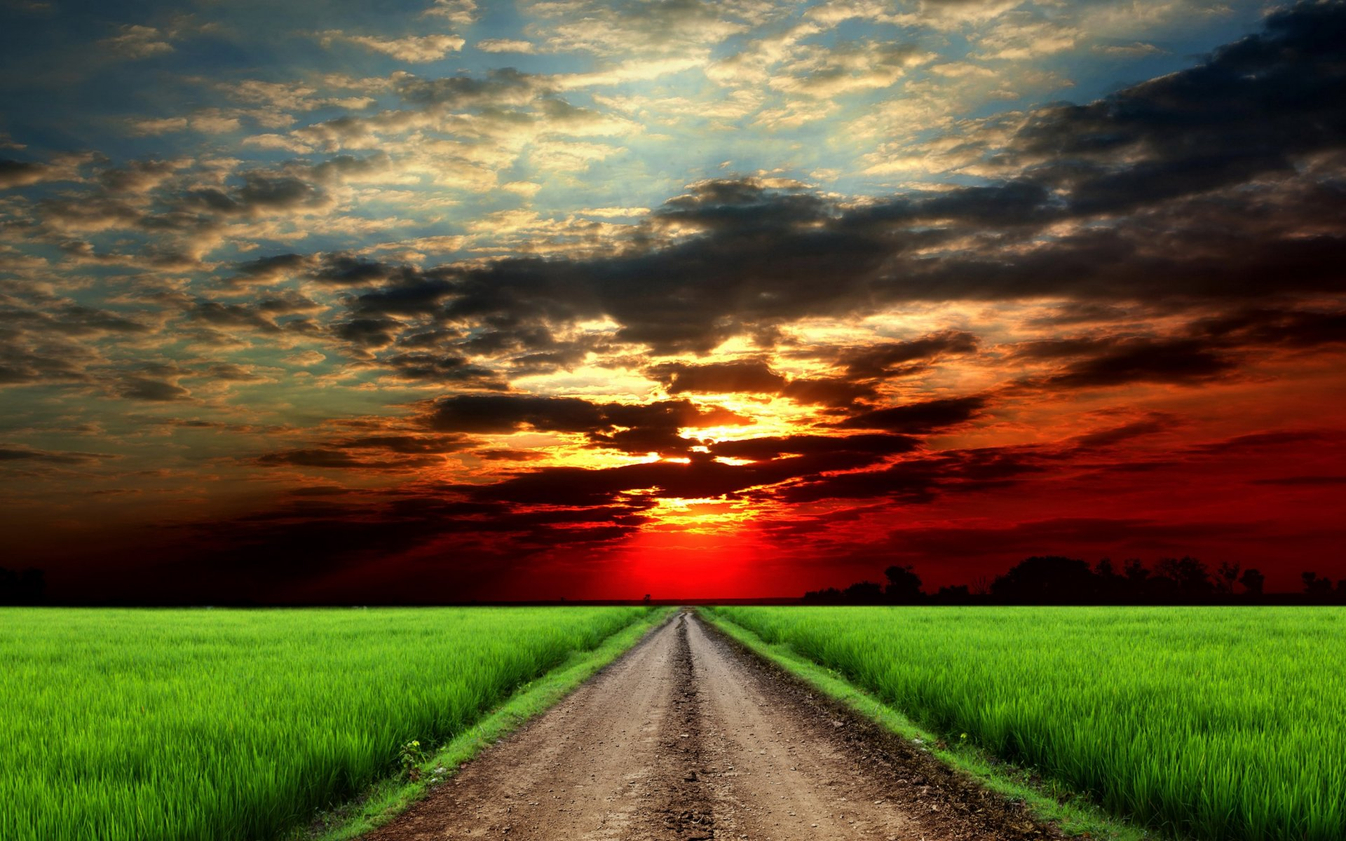 red sunset clouds fields road wallpapers