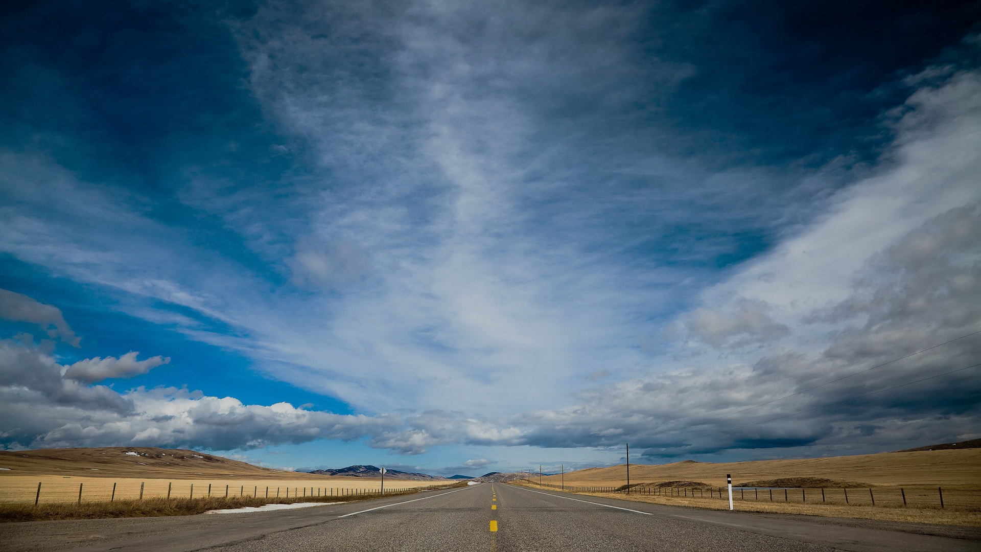 1920x1080 road fields clouds sky canada desktop pc and mac for Home wallpaper canada