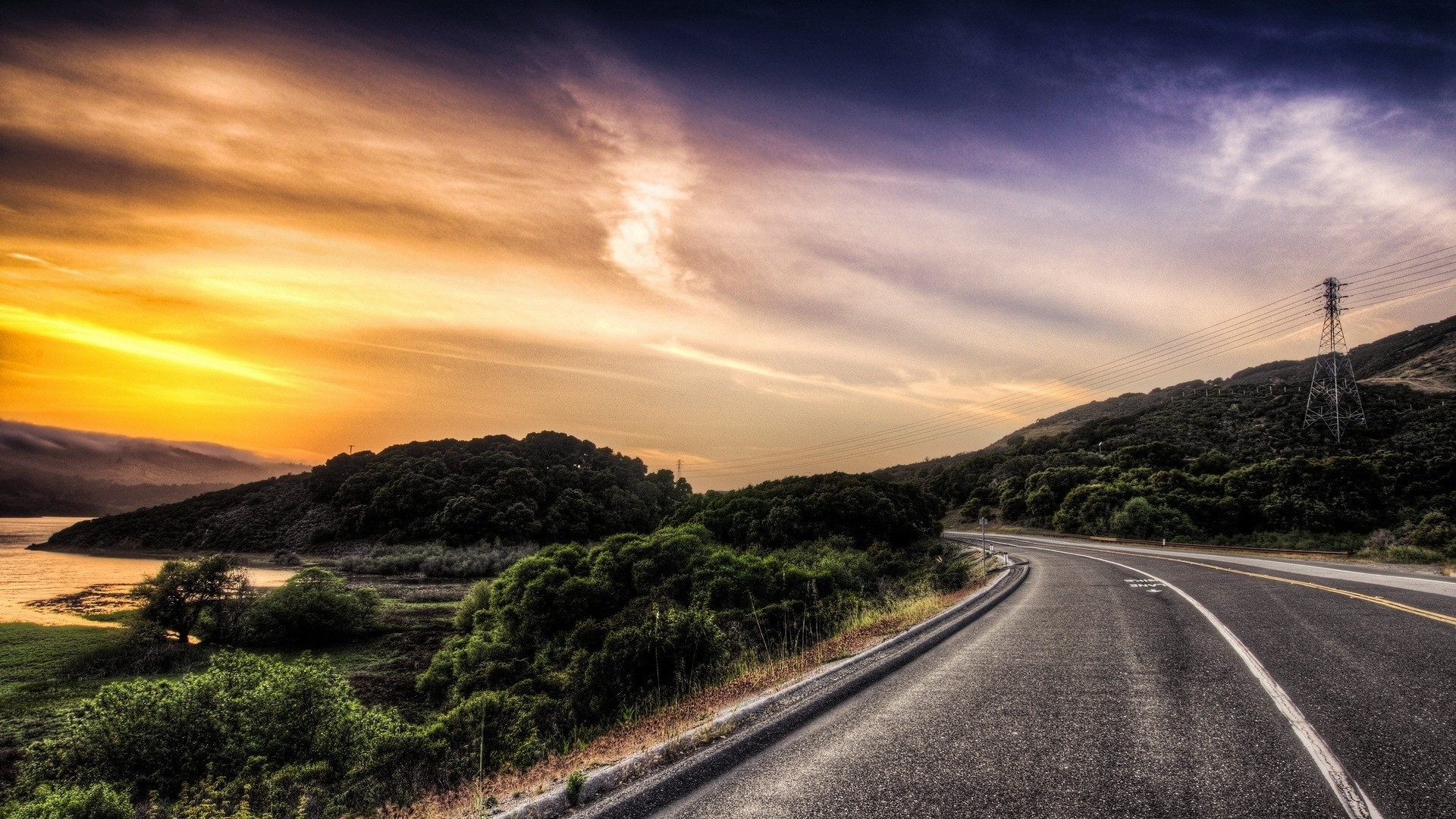 1920x1080 Road Scenic Pole River Sunset Desktop PC And Mac Wallpaper
