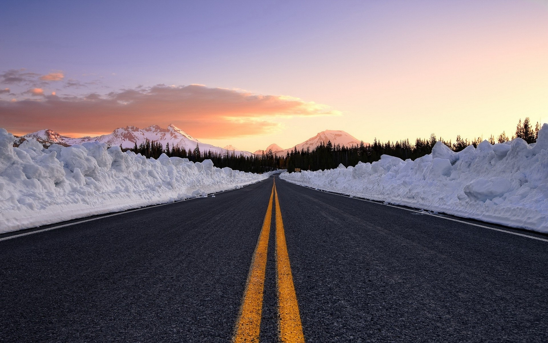 Road Snow Wall Trees Sunset Wallpapers Road Snow Wall