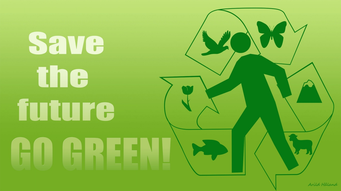 1366x768 save the future go green desktop pc and mac wallpaper