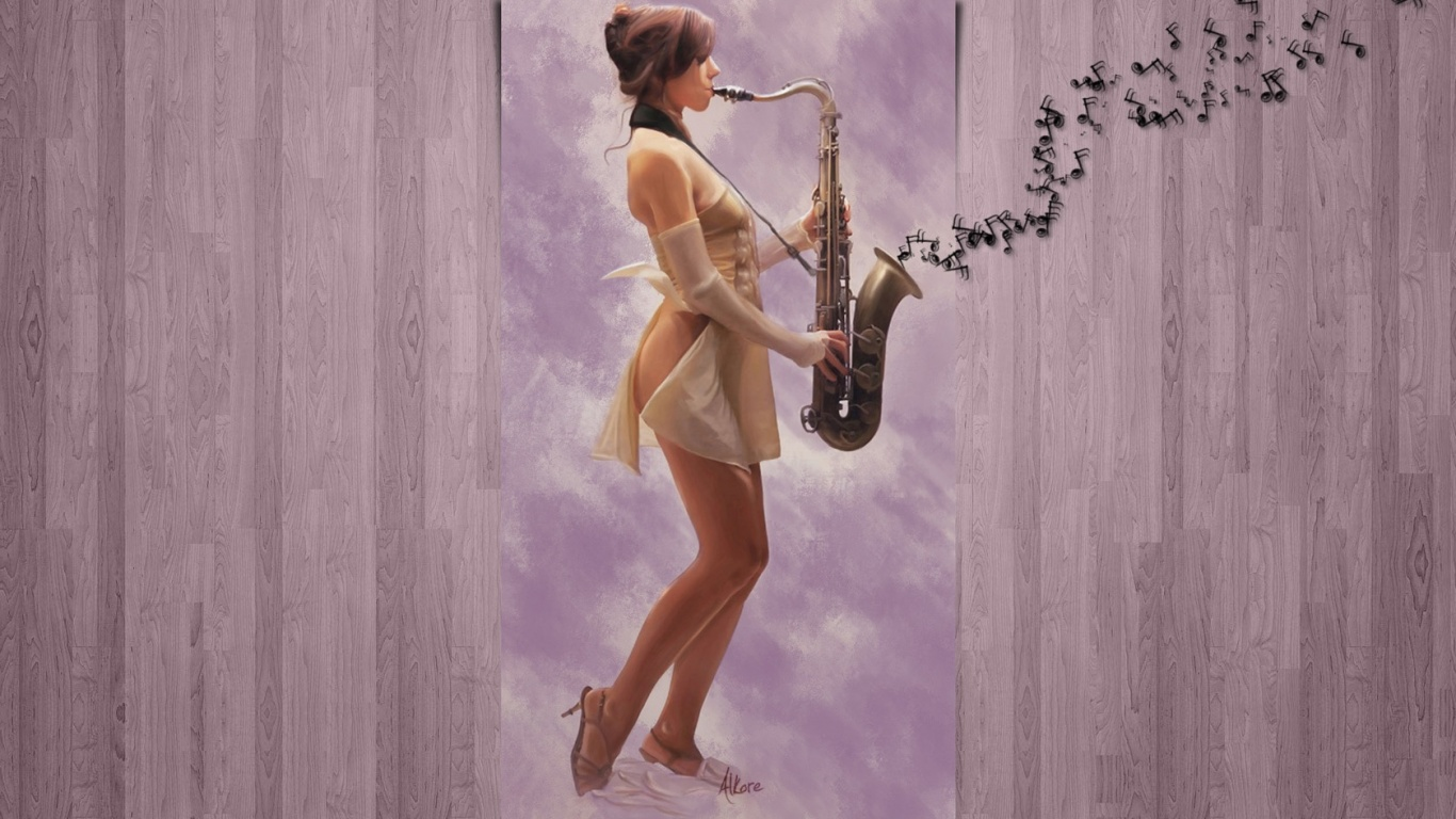1366x768 Saxy Girl desktop PC and Mac wallpaper