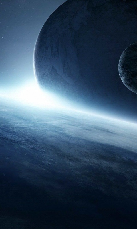 480x800 Scifi Planets, blue, space, abstract
