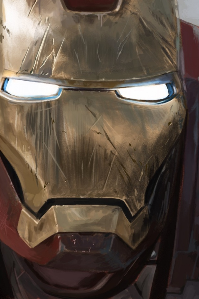 640x960 Scratched Ironman Mask Iphone 4 Wallpaper