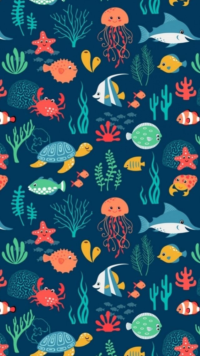 640x1136 Sea Animals Pattern Iphone 5 Wallpaper