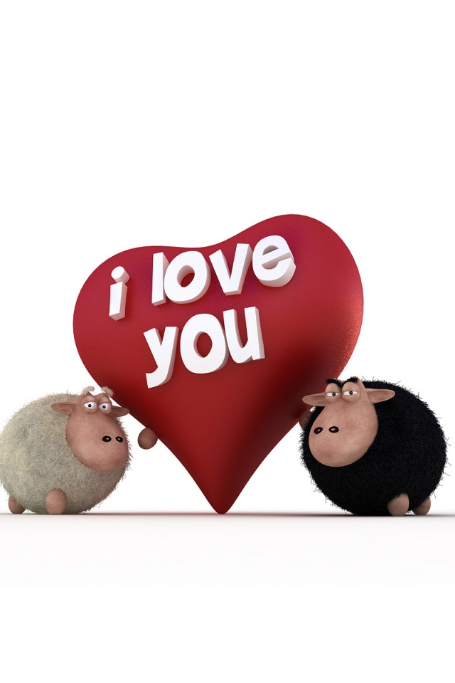 I Love You Wallpapers For Iphone 4 : 640x960 Sheeps - I Love You Iphone 4 wallpaper