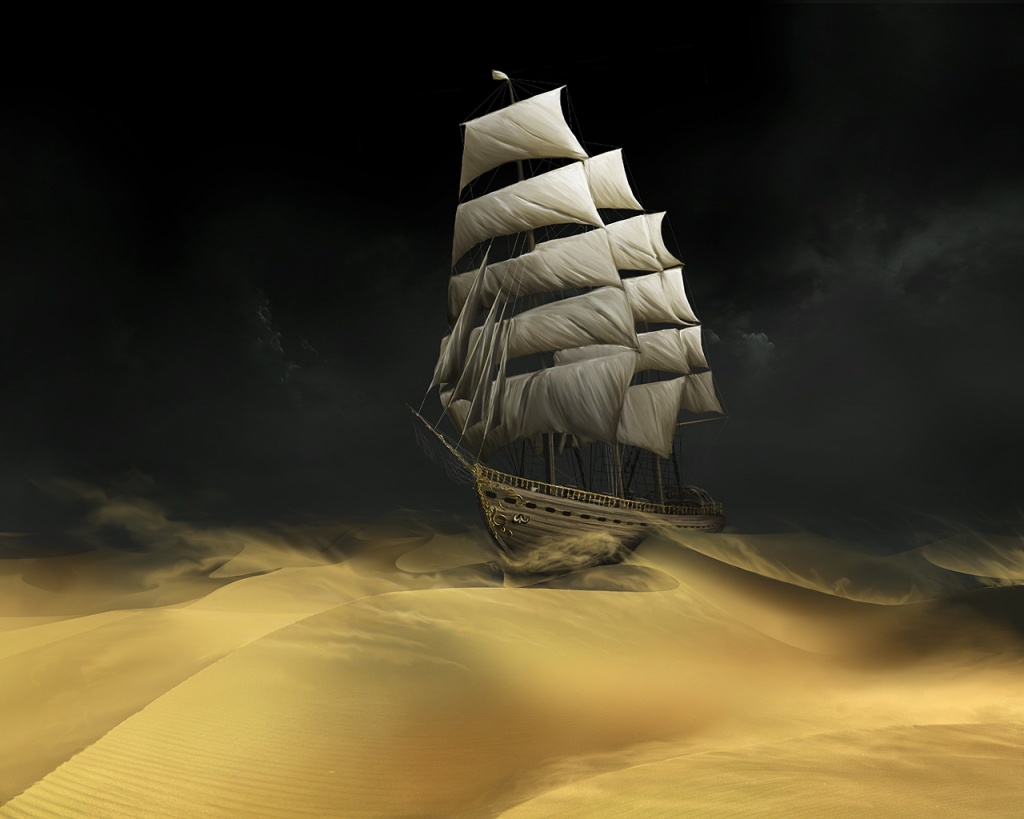 1024x768 Ship in the sand