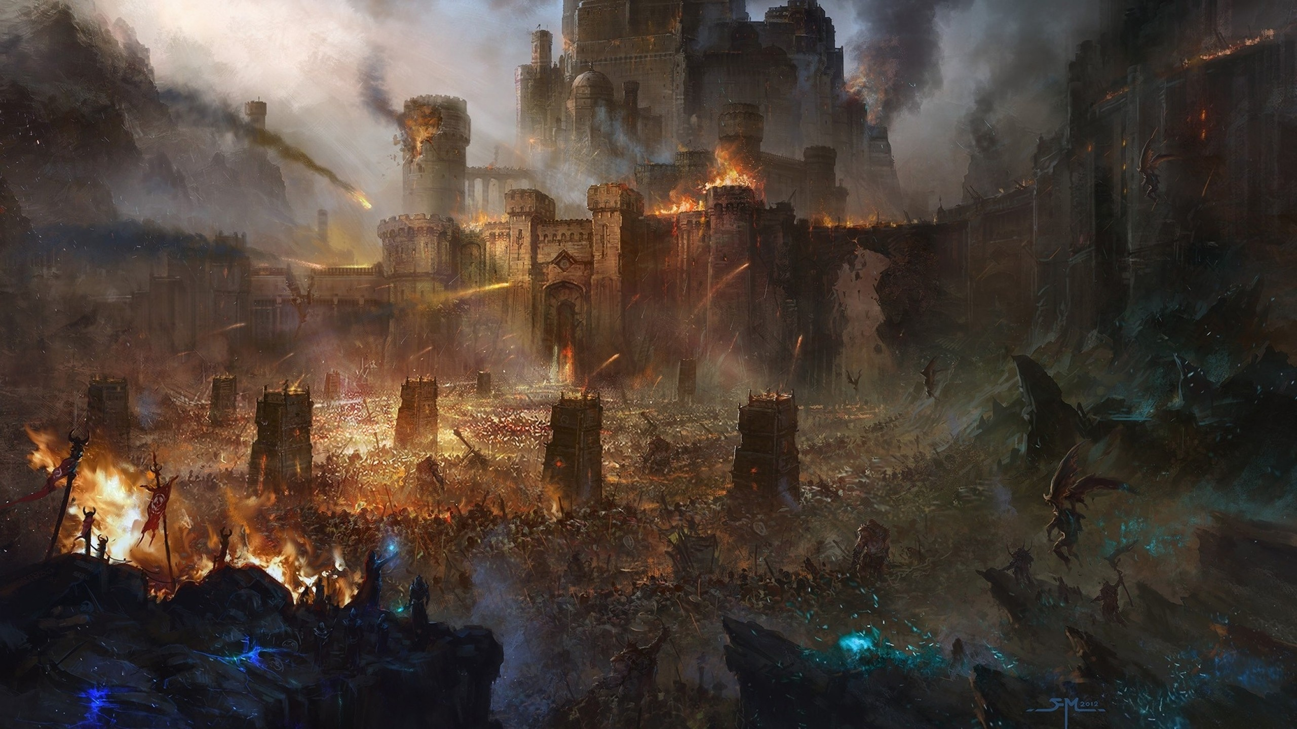 Warhammer Total War 2 Wallpaper 2560 X 1440 Dark Elves: 2560x1440 Siege Fantasy Art Desktop PC And Mac Wallpaper