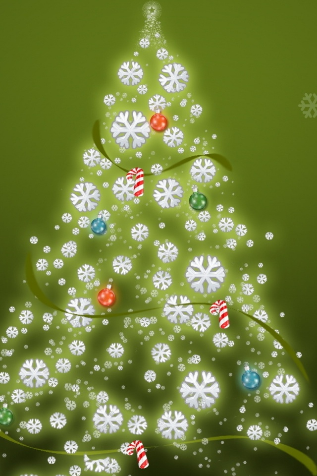 640x960 simple christmas tree iphone 4 wallpaper