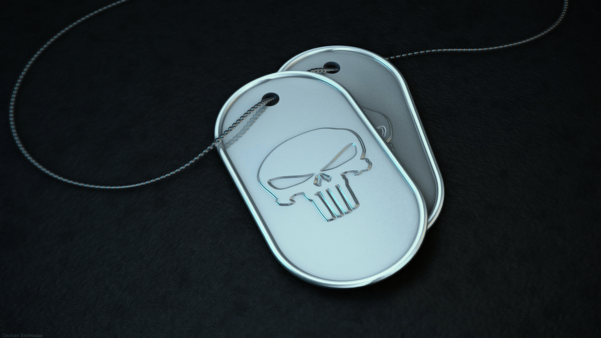 1920x1080 Skull Dog tag desktop PC and Mac wallpaper