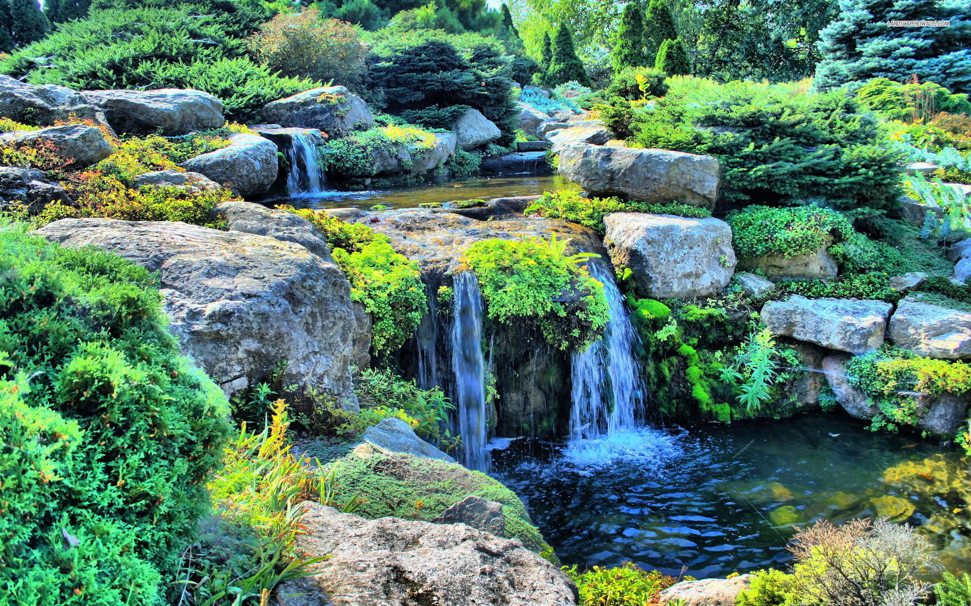 Small Waterfall Bushes Rocks Wallpapers Small Waterfall Bushes Rocks Stock Photos