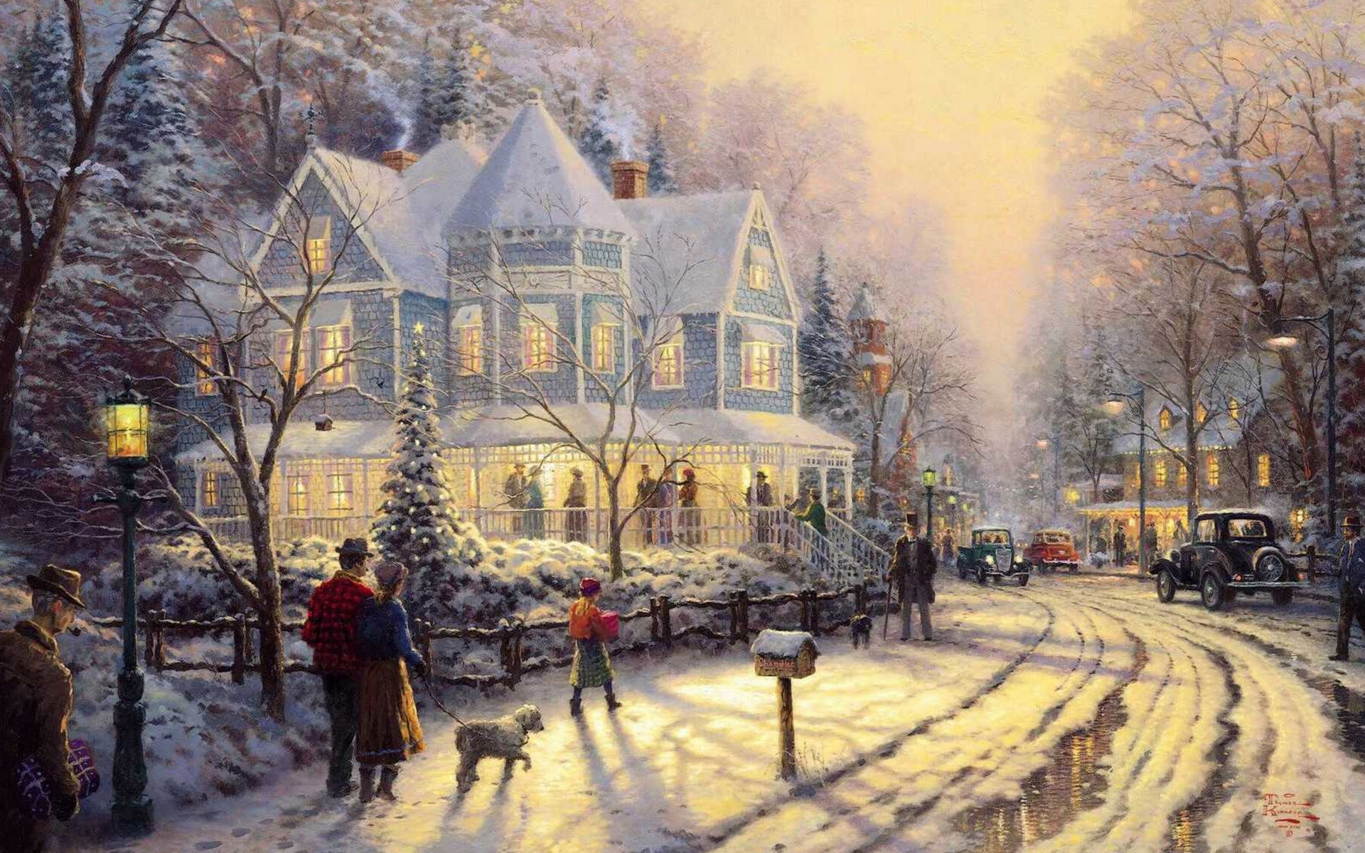 old fashioned christmas town wallpaper - photo #27