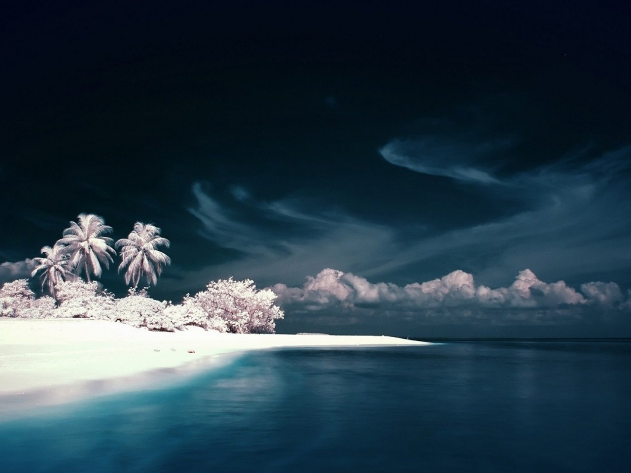 1280x720 Snow White Beach Ocean & Sky