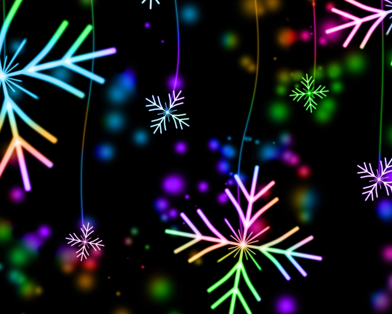 1280x1024 snowflakes, colorful, glare