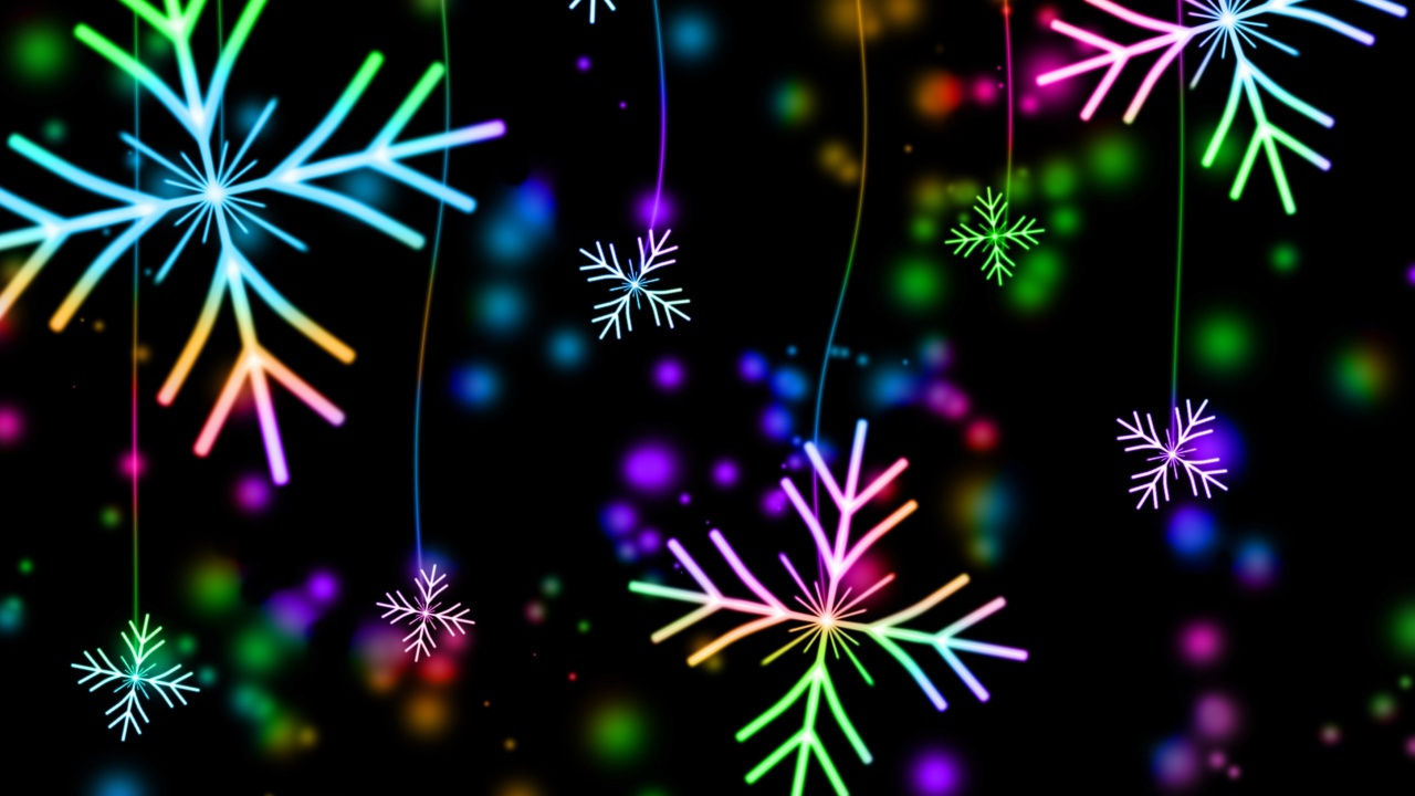 1280x720 snowflakes, colorful, glare