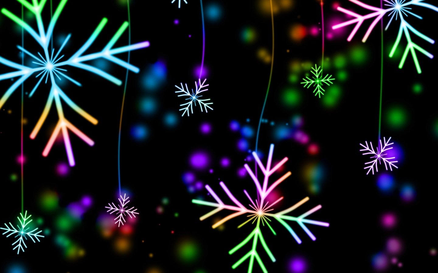 1440x900 snowflakes, colorful, glare