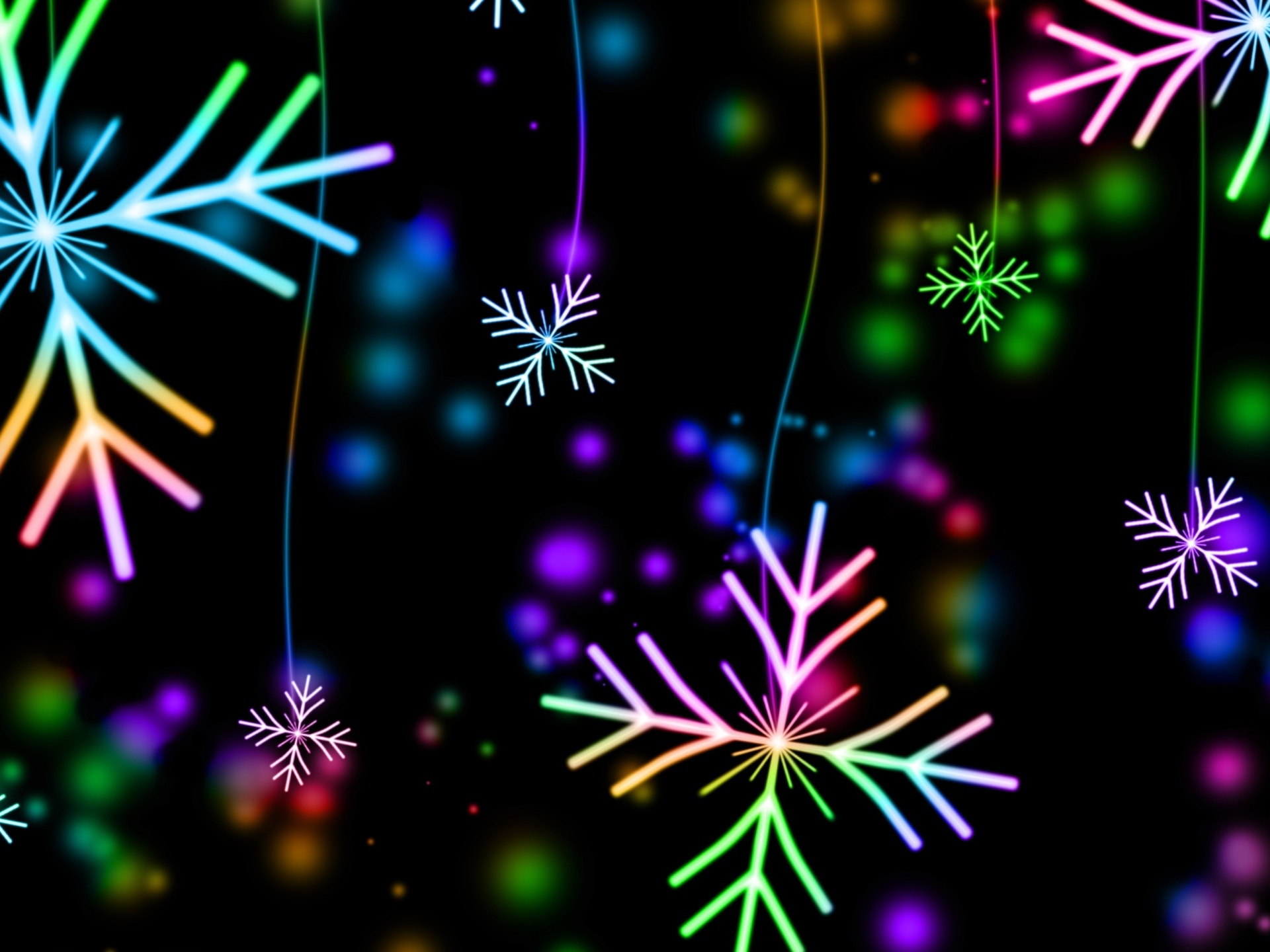 1920x1440 snowflakes, colorful, glare