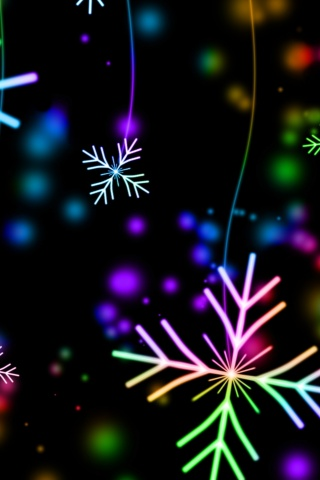 320x480 snowflakes, colorful, glare