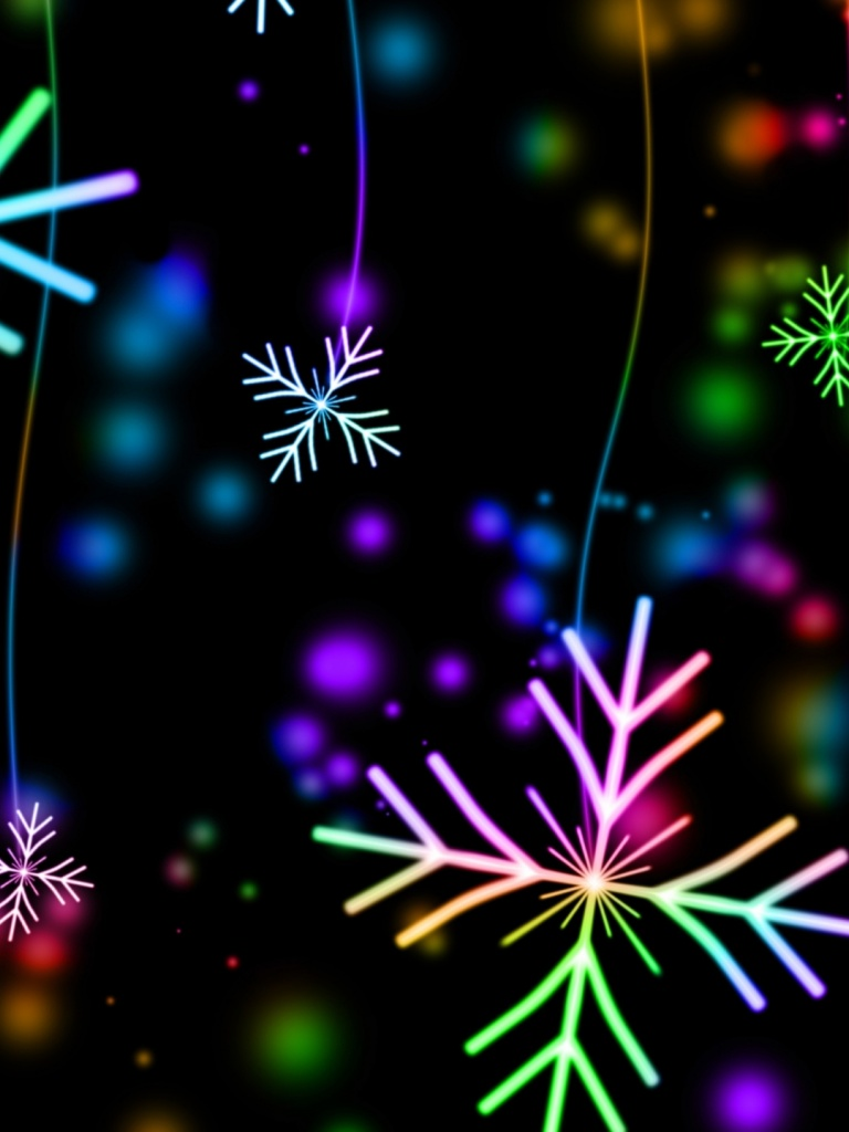 768x1024 snowflakes, colorful, glare