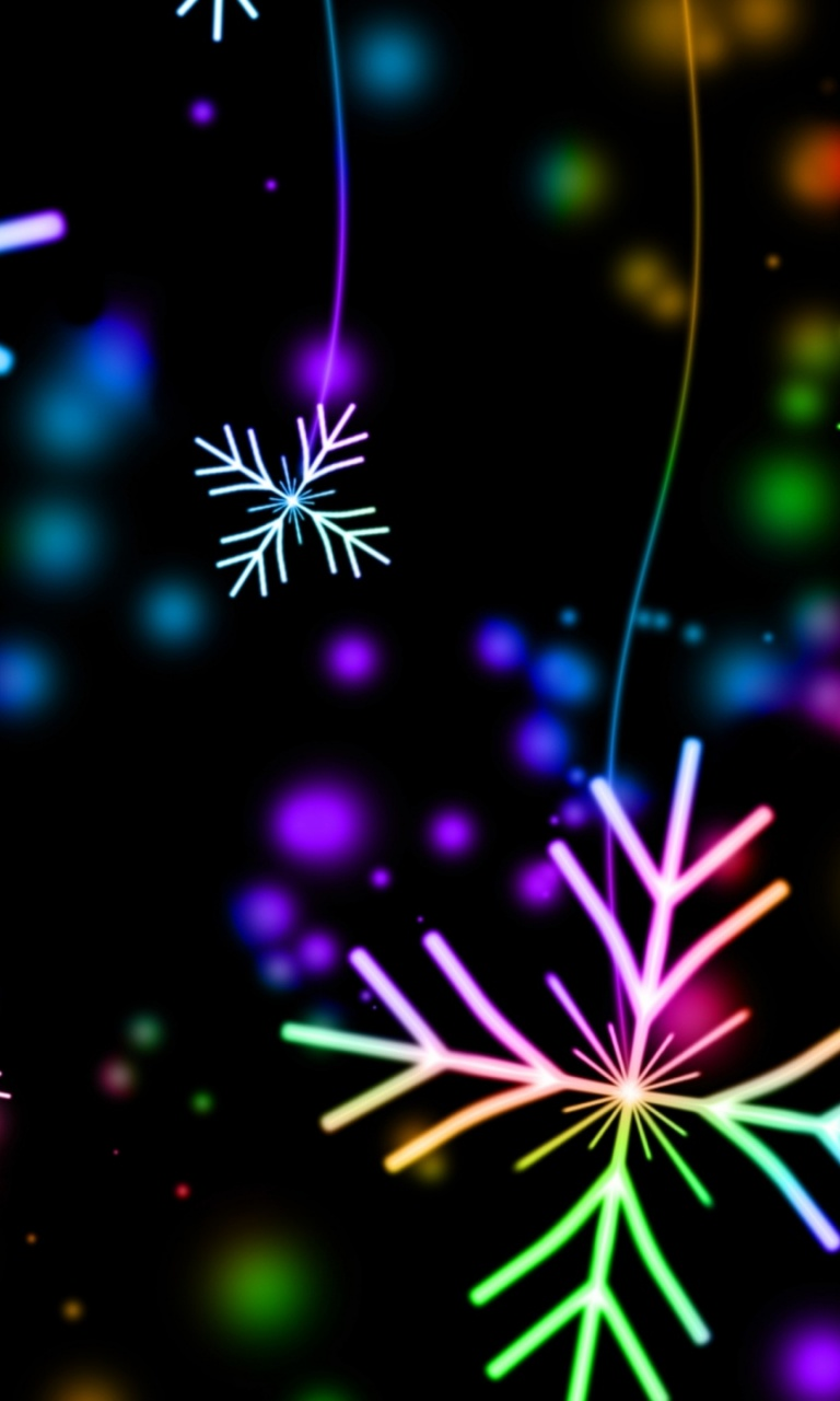 768x1280 snowflakes, colorful, glare