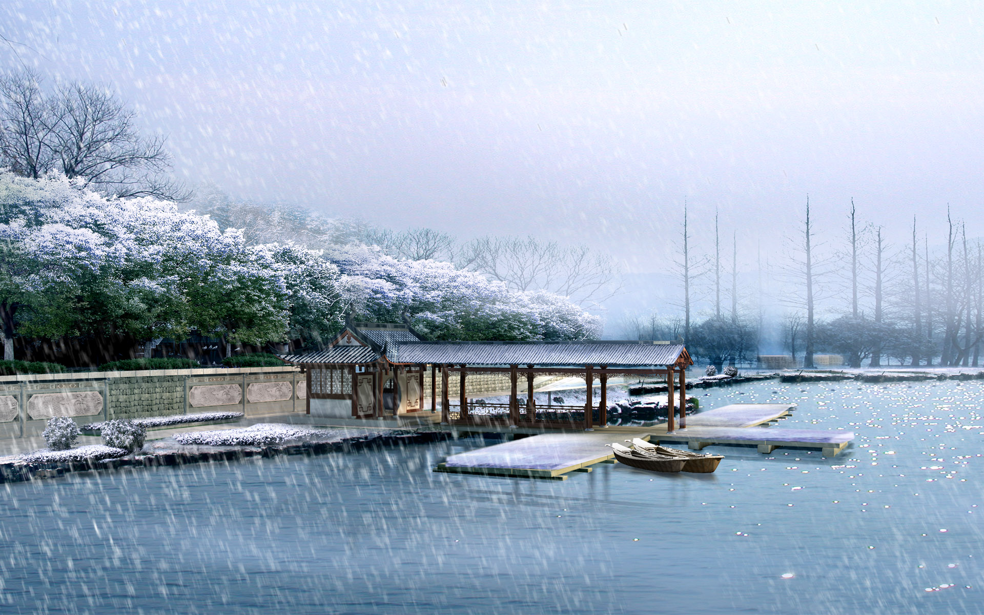 1920x1200 Snowing over lake desktop wallpapers and stock photos