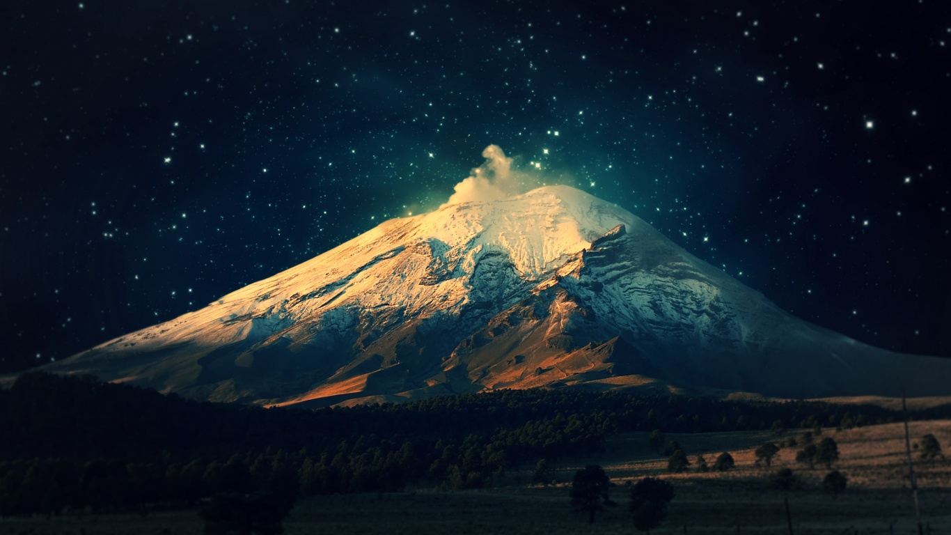 1366x768 mountain night stars - photo #26