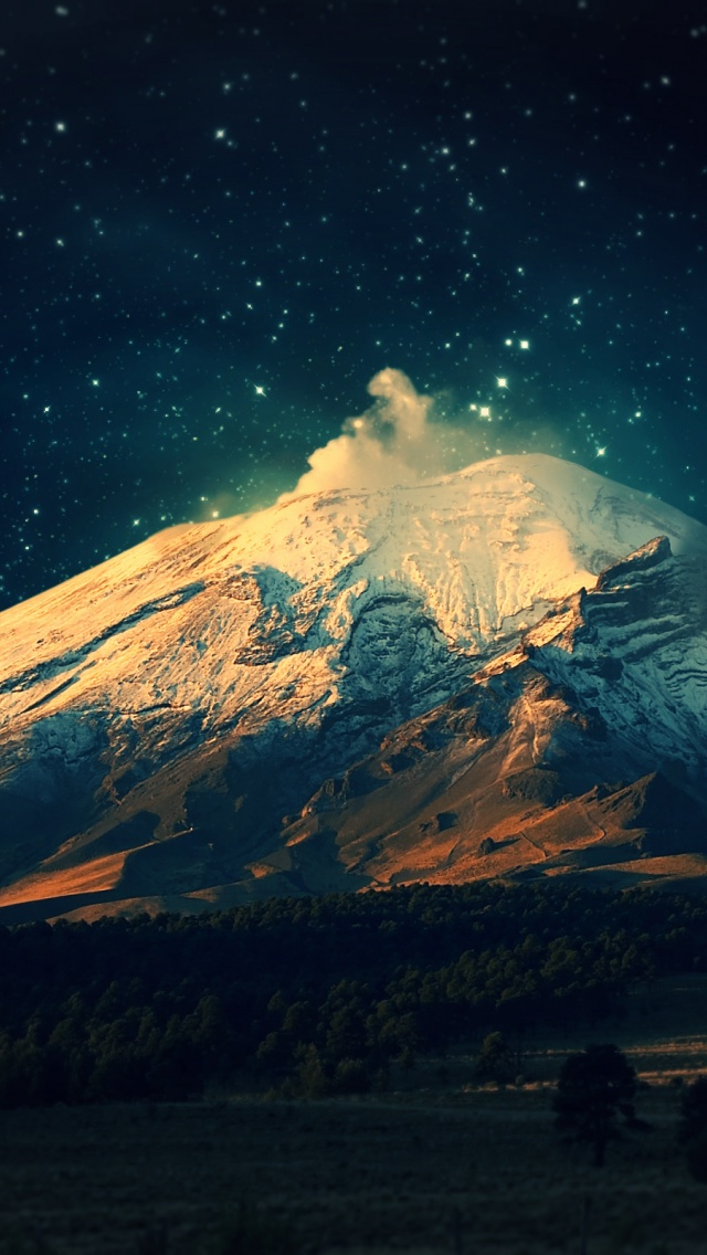 640x1136 Snowy Mountain Starry Sky Iphone 5 wallpaper