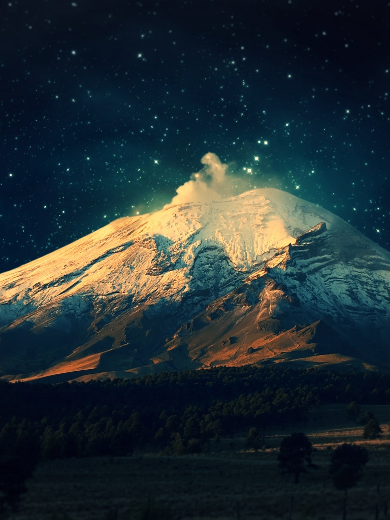 Download Wallpaper Mountain Ipad - snowy-mountain-starry-sky_wallpapers_34676_768x1024  Photograph_489688.jpg