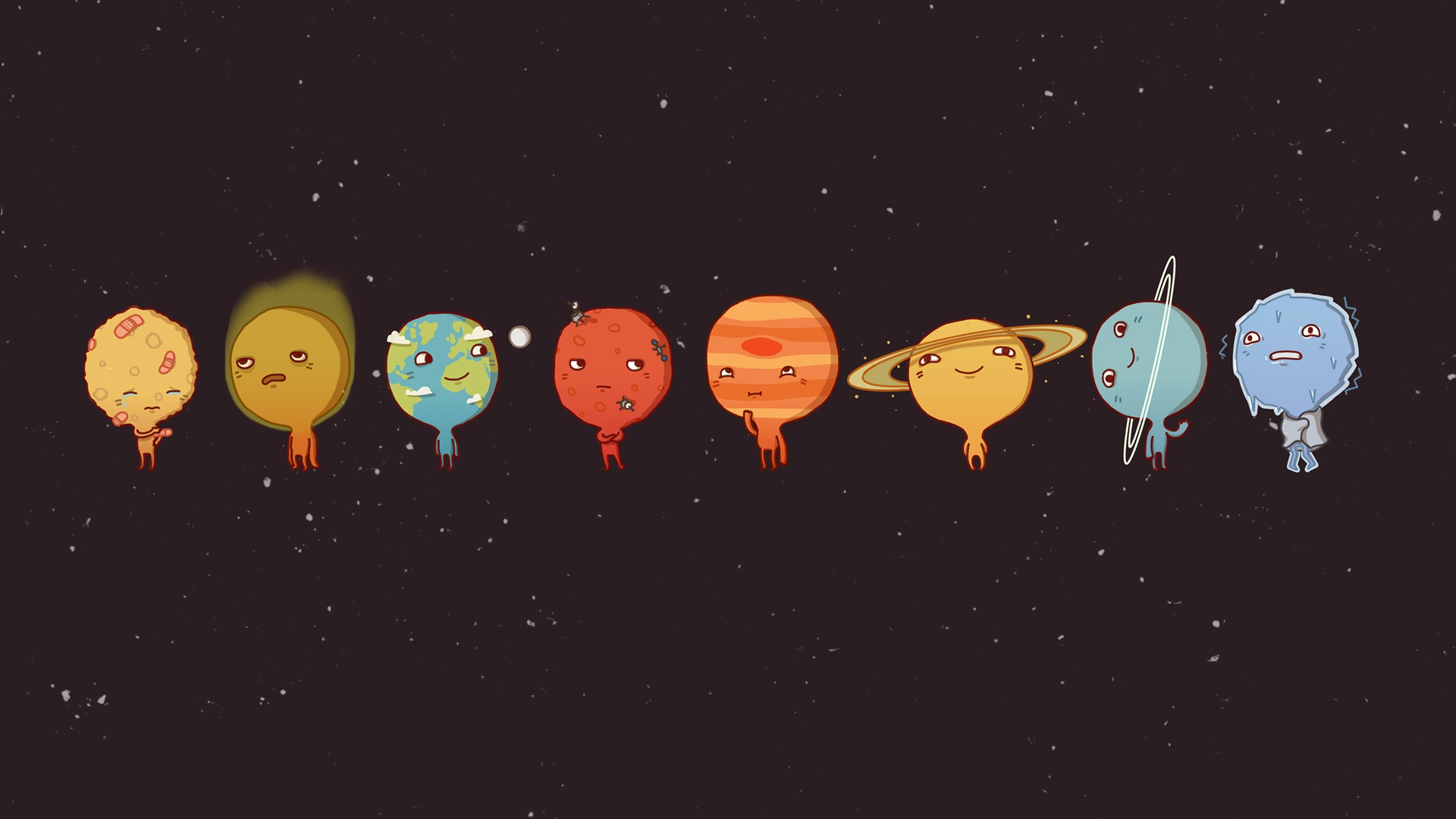 1920x1080 Solar System Funny Planets Desktop PC And Mac Wallpaper