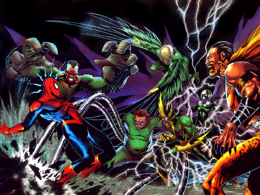 1024x768 Spiderman vs Supervillians
