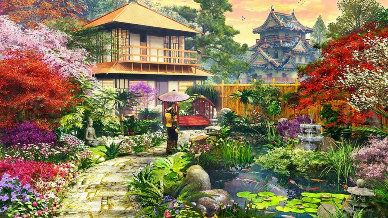 1280x720 Splendid Japanese Garden Desktop Pc And Mac Wallpaper