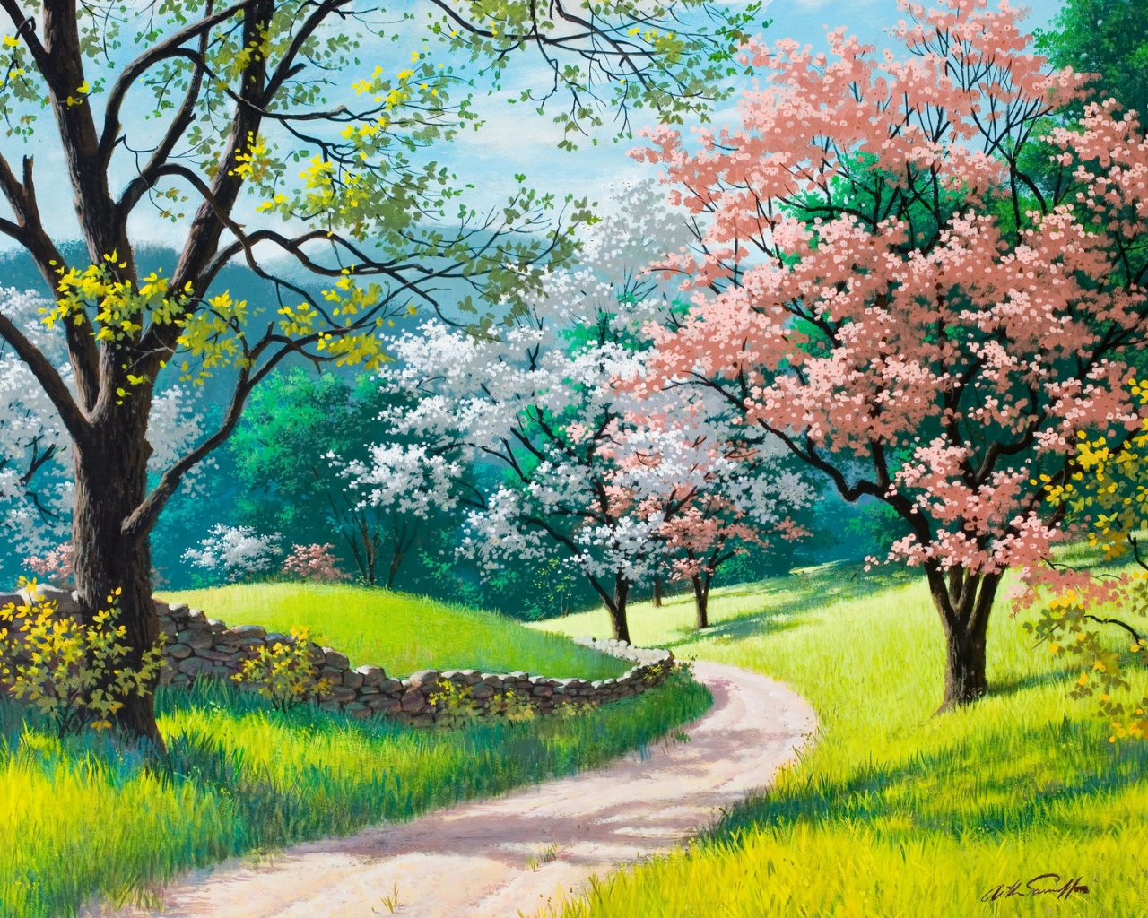 1280x1024 spring wallpaper: 1280x1024 Spring Trees Path Grass Fences Desktop PC And