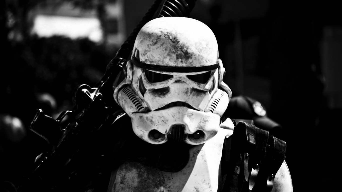 1366x768 star wars stormtrooper close-up desktop pc and mac wallpaper