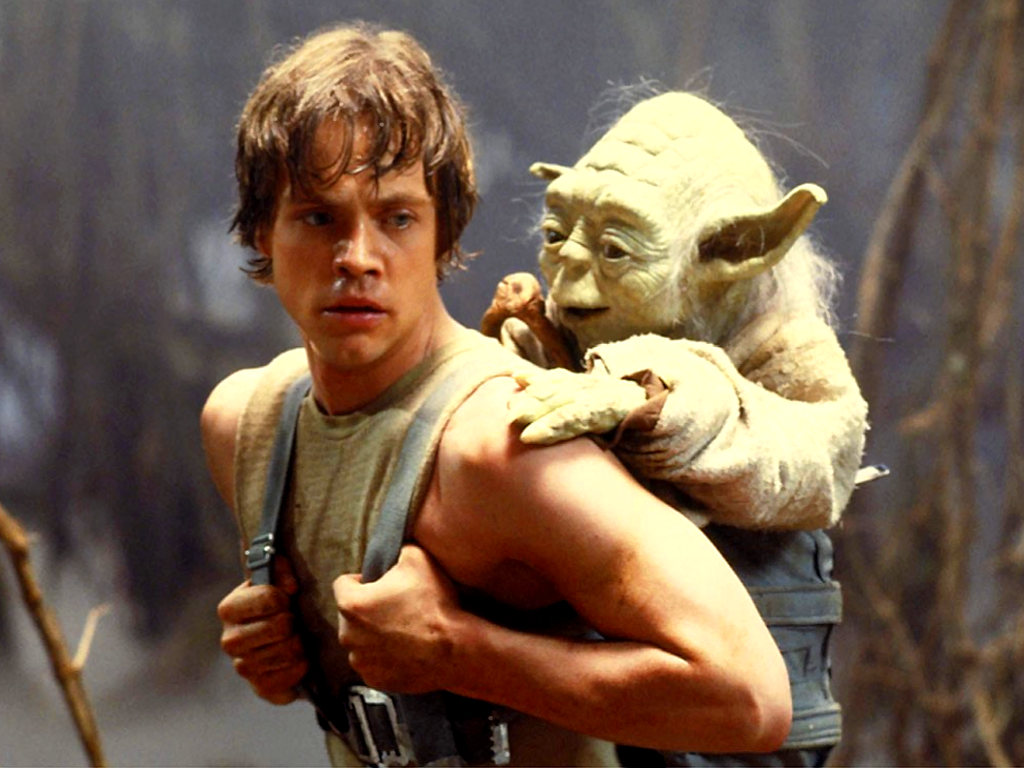 1024x768 star wars yoda and luke desktop pc and mac wallpaper