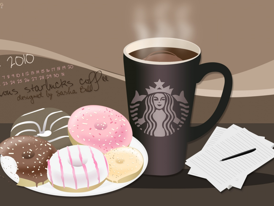 1152x864 Starbucks coffee and donuts