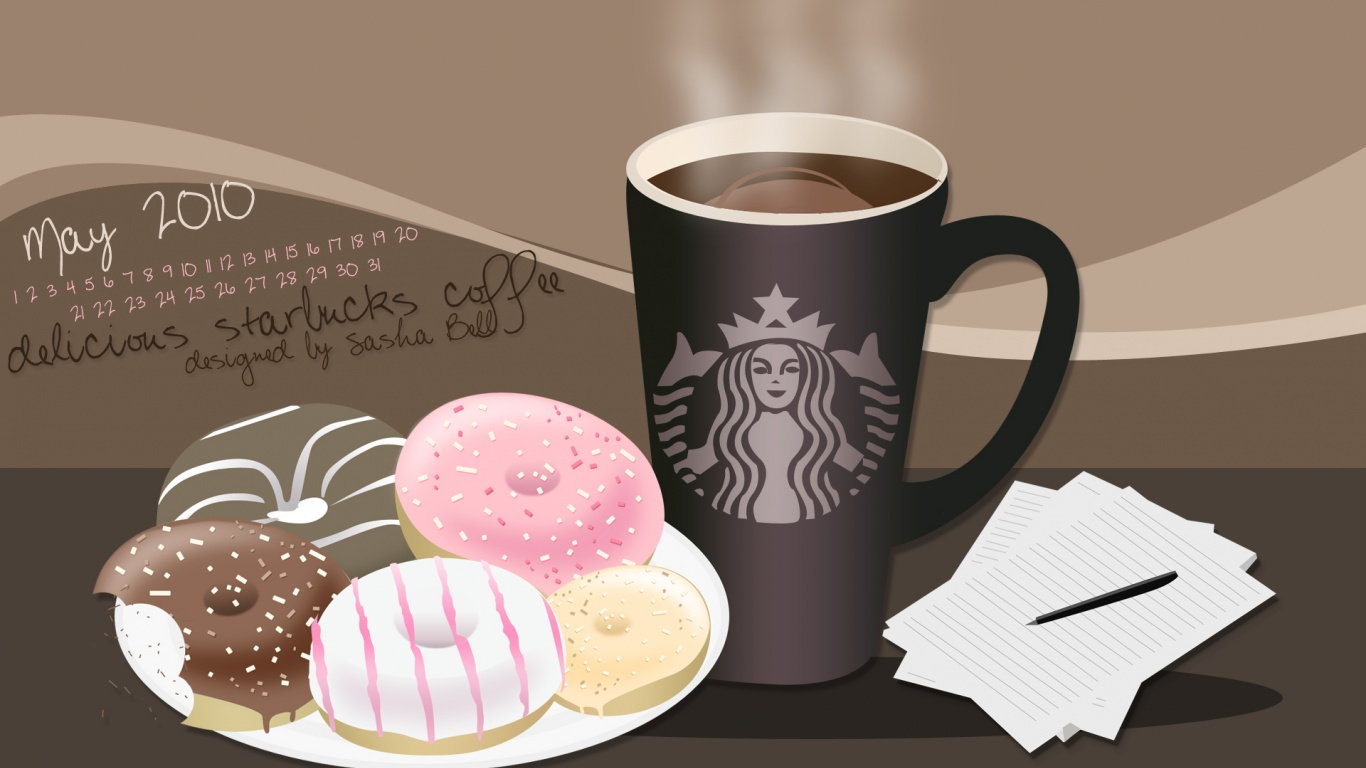 1366x768 Starbucks coffee and donuts