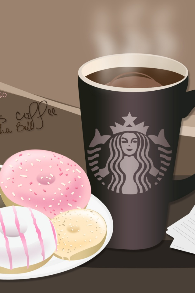 640x960 Starbucks Coffee And Donuts Iphone 4 Wallpaper