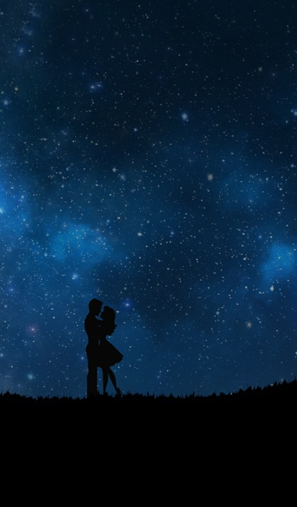 Love Wallpaper For Tab : 600x1024 starry sky, couple, love Galaxy tab 2 wallpaper