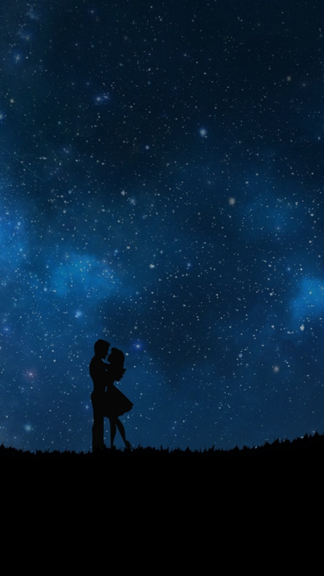 640x1136 Starry Sky Couple Love Iphone 5 Wallpaper