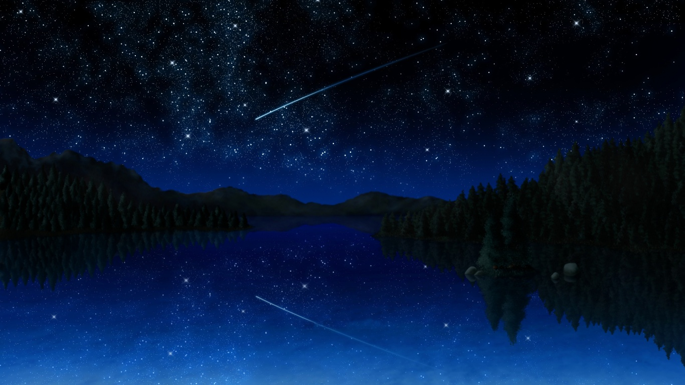 Download Wallpaper Night Forest - stars-meteor-lake-forest-night_wallpapers_44929_1366x768  Gallery-216658.jpg